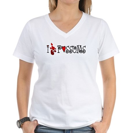 I Love Hearts Possums Women's V-Neck T-Shirt