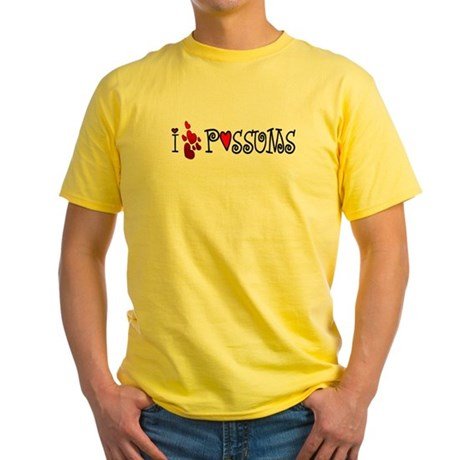 I Love Hearts Possums Yellow T-Shirt