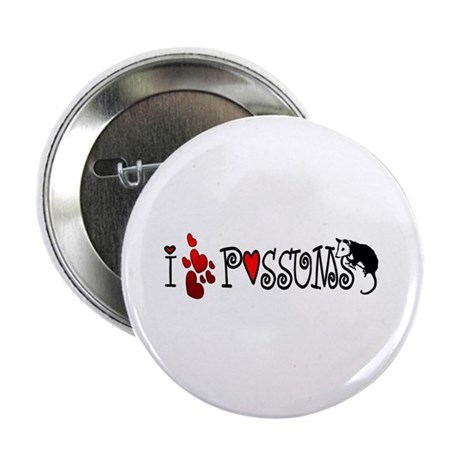 "I Love Hearts Possums 2.25"" Button"