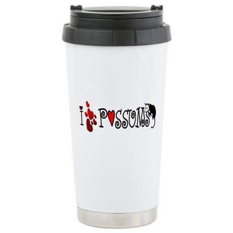 I Love Hearts Possums Ceramic Travel Mug