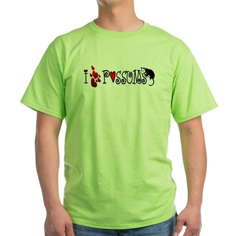 I Love Hearts Possums Green T-Shirt