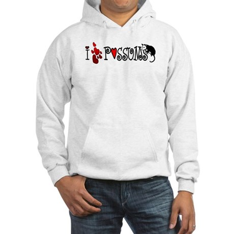 I Love Hearts Possums Hooded Sweatshirt