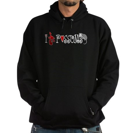 I Love Hearts Possums Hoodie (dark)