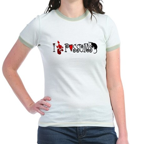 I Love Hearts Possums Jr. Ringer T-Shirt