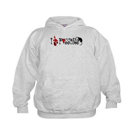 I Love Hearts Possums Kids Hoodie