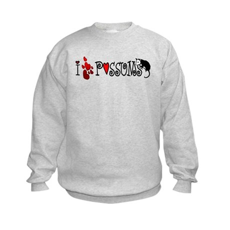 I Love Hearts Possums Kids Sweatshirt