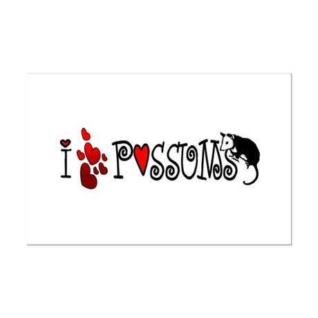 I Love Hearts Possums Mini Poster Print