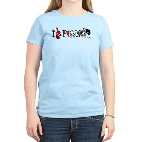 I Love Hearts Possums Women's Light T-Shirt