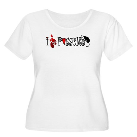 I Love Hearts Possums Women's Plus Size Scoop Neck