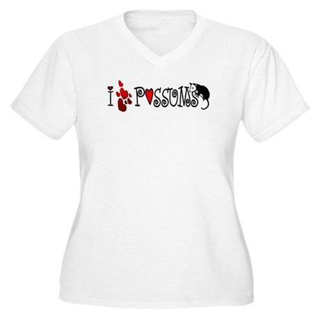 I Love Hearts Possums Women's Plus Size V-Neck T-S
