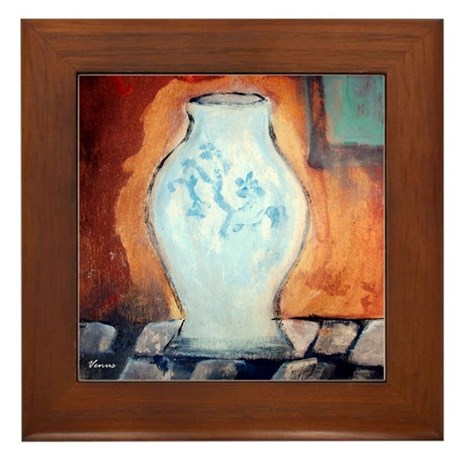 Blue Vase Framed Tile