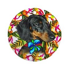 Daschund Christmas Ornament (Round)