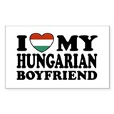 I Love My Hungarian Boyfriend Rectangle Decal