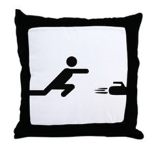black curling logo curl symb Throw Pillow