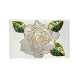 White Rose Rectangle Magnet