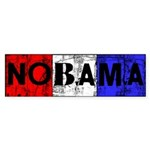 Red White Blue and Black Nobama Sticker (Bumper 10