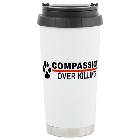 Compassion Over Killing Logo Ceramic Travel Mug