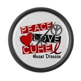 PEACE LOVE CURE Heart Disease Large Wall Clock