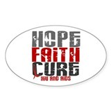 HOPE FAITH CURE AIDS / HIV Oval Decal
