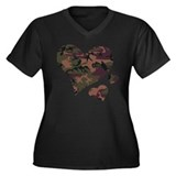 Brown Camo Hearts Women's Plus Size V-Neck Dark T-
