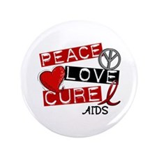 "PEACE LOVE CURE AIDS (L1) 3.5"" Button"