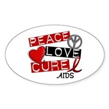 PEACE LOVE CURE AIDS (L1) Oval Decal