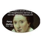 Romantic Writer: Percy Shelley Oval Sticker