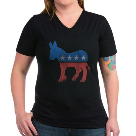 Democratic Donkey Womens V-Neck T-Shirt