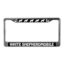 White Shepherdmobile License Plate Frame