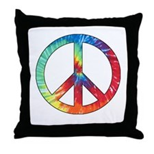 Tie Dye Rainbow Peace Sign Throw Pillow