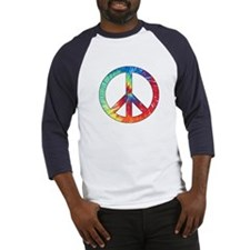 Tie Dye Rainbow Peace Sign Baseball Jersey
