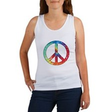 Tie Dye Rainbow Peace Sign Women's Tank Top