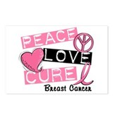 PEACE LOVE CURE Breast Cancer (L1) Postcards (Pack