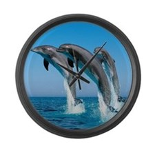 Three Dolphins Large Wall Clock
