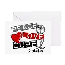 Peace Love Cure Diabetes Greeting Card