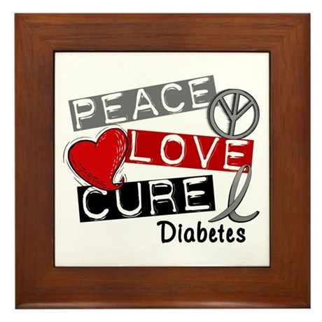 Peace Love Cure Diabetes Framed Tile