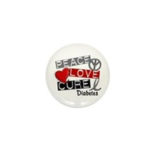 Peace Love Cure Diabetes Mini Button (10 pack)