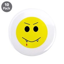 "Vampire Smiley Face 3.5"" Button (10 pack)"
