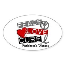 PEACE LOVE CURE Parkinsons (L1) Oval Decal