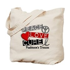 PEACE LOVE CURE Parkinsons (L1) Tote Bag