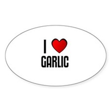 I LOVE GARLIC Oval Decal