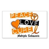 PEACE LOVE CURE MS Rectangle Decal