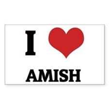 I Love Amish Rectangle Decal