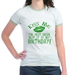 Kiss Me March 17 Birthday Jr. Ringer T-Shirt