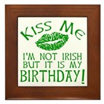 Kiss Me March 17 Birthday Framed Tile