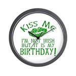 Kiss Me March 17 Birthday Wall Clock