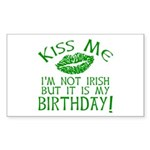 Kiss Me March 17 Birthday Sticker (Rectangle)