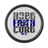 HOPE FAITH CURE ALS Large Wall Clock