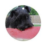 Black Miniature Schnauzer Ornament (Round)