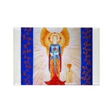 Angel With Rose Rectangle Magnet (100 pack)